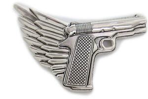 New Hot Topic Men Biker Silver Metal Belt Buckle Angel Wing Gun Pistol Trucker