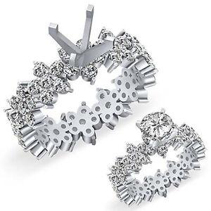 2.25Ct Round Setting Diamond Eternity Engagement Wedding Ring Platinum 950 VS1 F