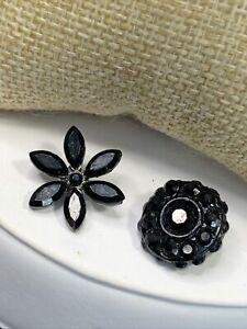 Lot of 2 Antique Vintage Black Rhinestone Paste Stone Buttons