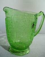 """Vintage Green depression  """"Cherry Blossom Pattern by Jeanette Glass Pitcher"""