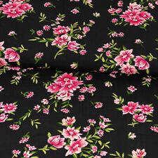 Viskosestoff Flores Negro Fucsia Modestoffe Damenstoffe