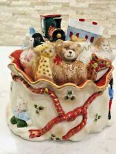 """Vintage Fitz & Floyd 1987 """"Bag Of Toys"""" Cookie Jar Christmas Santa Claus"""