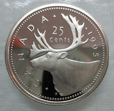 1995 CANADA 25 CENTS PROOF QUARTER HEAVY CAMEO COIN
