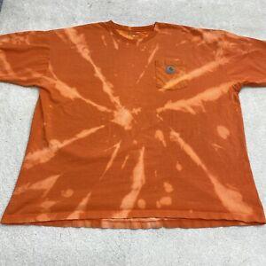 Carhartt Shirt Adult 4XL XXXXL Orange White TIe-Dye Acid Wash Mens