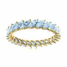 Genuine Marquise Cut AAA Aquamarine Full Eternity Wedding Ring 14k Yellow Gold