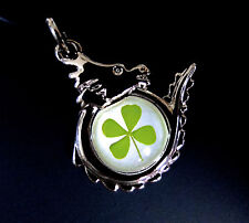 "Real four leaf clover shamrock on dragon pendant (cord 19"" w/ ext.)"