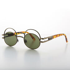 Futuristic Oval Sunglasses with Double Eyelid Bronze/ Green Lens - Ace