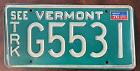 """Vintage """"SEE VERMONT"""" Truck 1976 License Plate Green Mountain State Tag """"G5531"""""""
