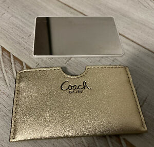 Coach Stainless Steel Unbreakble Pocket Makeup Mirror GOLD ~Preowned