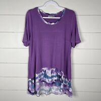 LOGO By Lori Goldstein Women Purple Size Large Short Sleeve Round Neck Tunic Top