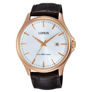 Mens Wristwatch LORUS By Seiko RS946CX9 Leather Brown Rose Gold Sub 50mt