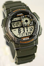 Casio AE-1000W-3A Digital Map Watch 10 Year Battery World Time 5 Alarms New