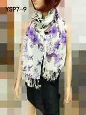 100% PASHMINA FLOWER PRINT DESIGN SCARF OR WRAP YSP7 COLOR PURPLE