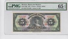 Mexico Banco de Mexico 5 Pesos 1961 P#60g  PMG 65 EPQ  .GEM UNC