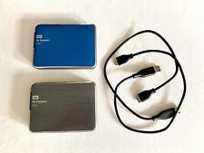 Two WD My Passport Ultra 2TB USB 3.0 Portable Hard Drives, Blue and Titanium