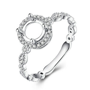 14k White Gold Round 6mm 0.3CT Real SI/H Diamond Antique Ring Engagement Wedding