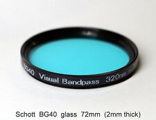 "Schott BG40 72mm UV/IR Cut Filter, Visual Bandpass, IR Suppression, ""Hot Mirror"""