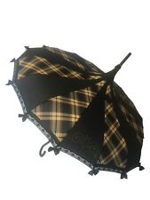 BROWN PLAID PAGODA SHAPED UMBRELLA W/ HOOK HANDLE TRIMMED W/ LACE & BOWS