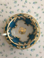 Beautiful Vintage TURQUOISE & GOLD  Royal Chelsea Tea Cup and Saucer Set