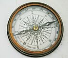 """New Antique Brass 3"""" Pocket Marine Compass With Engraved Robert Frost Poem"""