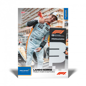 F1 TOPPS NOW LANDO NORRIS PODIUM FINISH IN THROWBACK GULF LIVERY - UK CARD #11