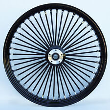 "Black 48 King Spoke 26"" x 3.5"" Dual Disc Front Wheel for Harley & Custom Models"