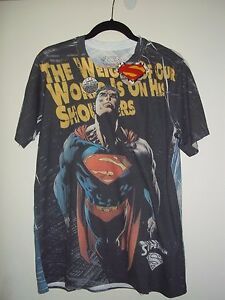 SUPERMAN ALL-OVER PRINT T SHIRT : MEN'S LARGE~GREAT GIFT!!  NWT