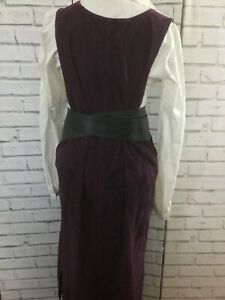 Vintage 90s Purple Cord Maxi Length Dress Pinafore Size 2 X
