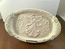 HOME ACCENTS Porcelain Ivory Decorative Plate Embossed Angel Flowers Gold Trim