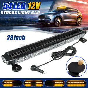 Amber 28'' 54 LED Car Traffic Truck Emergency Warning Strobe Light Bar Beacon