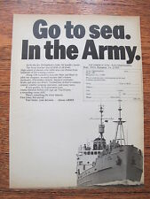 """1970 Us Army Advertising Print Ad Go to sea In the Army Recruiting Ad 8"""" by 11"""""""