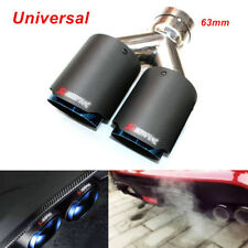 Universal Oval Carbon Fiber Exhaust Dual Muffler Tip Steel Car 63mm Inlet Pipe