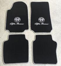Autoteppich Fußmatten für Alfa Romeo 75 schwarz silber 1985-92' Logo Schrift Neu