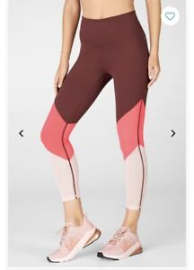 BNWT Fabletics Zone High-Waisted 7/8 Leggings Small RRP £49.99 Rust Rose Pearl