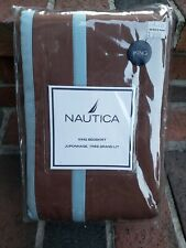 New Nautica Highland King Bed Skirt Brown Cotton Sateen $70