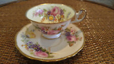 Foley Wildflower Gold Wide Rim Bone China Tea Cup & Saucer Floral England