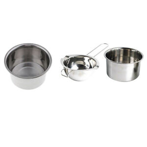 3x Stainless Steel Wax Melting Pot Double Boiler Long Handle Tool for Resin Soap