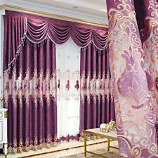 European Lace Embroidered Curtains for Bedroom Purple 2 Panel Living Room Drape