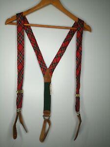 NWT POLO Ralph Lauren Men's Tartan Plaid Brass Leather Suspenders Adjustable