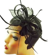Fascinator am Peine elegante Arreglo del pelo Sinamay Flores negro