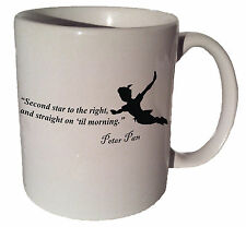 "Peter Pan Disney ""Second star to the right"" quote 11 oz coffee tea mug"