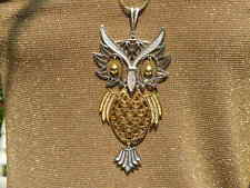 Vintage Owl Huge Necklace Articulated Pendant