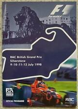 BRITISH GRAND PRIX SILVERSTONE 1998 FORMULA ONE F1 Official Programme