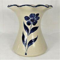 "Williamsburg Pottery Salt Glaze Vase Blue Flower Stoneware Ruffled Top Edge  6"""