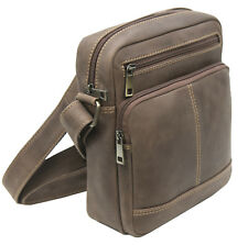 Small Distressed Brown Leather travel pouch Crossbody Bag Flight Bag