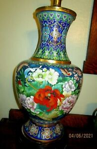 CHINESE VINTAGE CLOISONNE VASE LAMP-FLORAL-ASIAN-ORIENTAL-PORCELAIN-JAPANESE