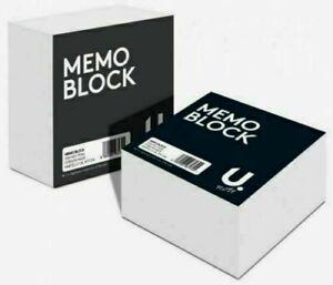 U. 2 x 400 Sheets Memo Block Refills Square Plain White Paper Cube  90mm x 90mm