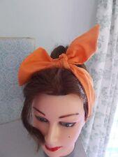 Tête écharpe cheveux bande orange self tie bow rockabilly swing pin up 50s retro neuf