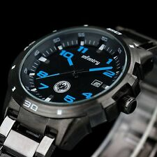 INFANTRY Mens Quartz Wrist Watch Date Sport Army Gunmetal Black Stainless Steel