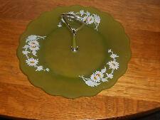 "Rare Westmoreland Satin Green Handled Tidbit  10"" Wide Hand Painted Daisy Patern"